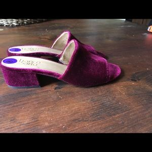 Franco Sarto Velvet Heeled Sandals NWOB